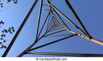 Rotating of Steel Triangle Tower for Wind Turbine Look from...