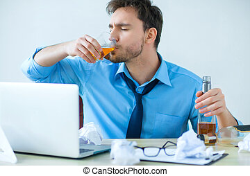 Drunk man drinking alcohol while working - Can not stop...