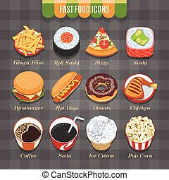 Fast Food Isometric Icons Set - Fast Food Vector Isometric...