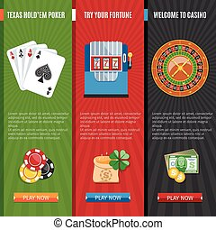Casino Flat Banners Set - Colorful Casino And Gambling Flat...