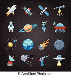 Space And Astronautics Icons Set - Space And Astronautics...
