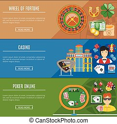 Casino And Gambling Flat Banners Set - Colorful Casino And...