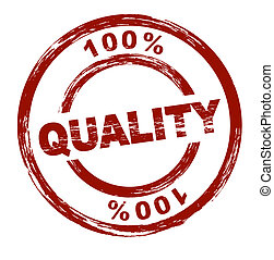100% Quality - A stylized red stamp shows the term 100%...
