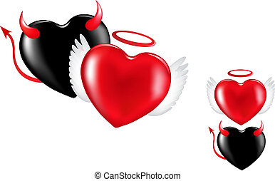 Angel And Demon Hearts - Two Hearts like a demon and angel