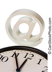 email sign and clock - a clock shows and an e-mail logo:...