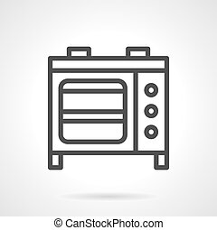 Microwave oven black line vector icon - Household and...