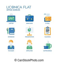 Modern office and business flat design icons, pictograms set...