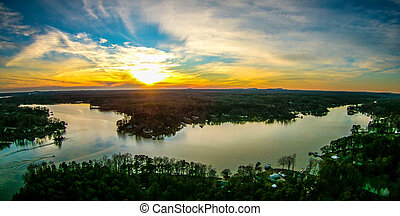 beautiful sunset over lake wylie south carolina