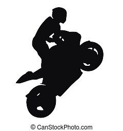 Motorcycle racing vector silhouette, wheelie