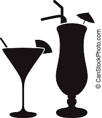 two cocktail silihouettes