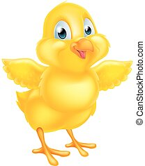 Cute Easter Chick - Cartoon yellow Easter chick baby chicken...