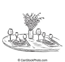 Romantic dinner with wine. Valentines Day