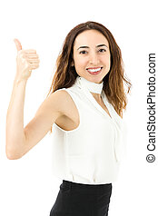 Successful business woman thumbs up - Friendly business...