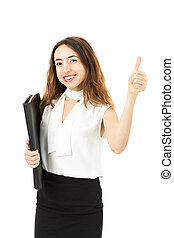 Business woman giving thumbs up - Smiling friendly caucasian...