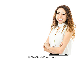 Friendly business woman portrait - Caucasian business woman...