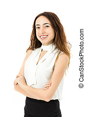 Friendly business woman portrait - Friendly caucasian...