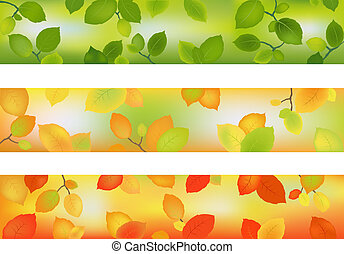 Three Season Banners or Backgrounds with leaves for design