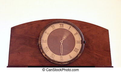 Old vintage mantel clock on white - Old vintage wooden...
