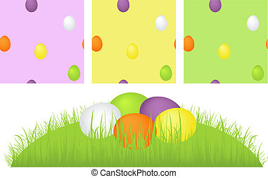 Grass, easter eggs and pattern