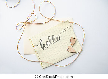 Two lovers heart patterns and words hello for greating card