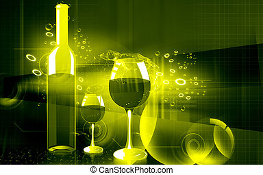 Wine - Illustration of a wine bottle and wine goblet