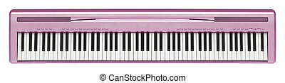 rosa, Sintetizador, aislado, en, blanco,