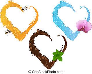 Three liquid hearts
