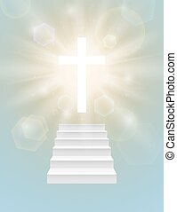 Religious background with white cross.