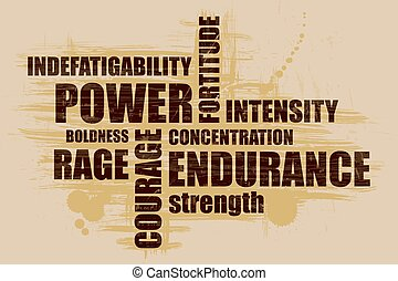 Power.Word collage on a grunge background. Designed for sports