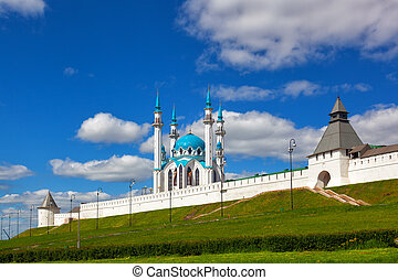 Building of Mosque on territory of Kremlin on a background...