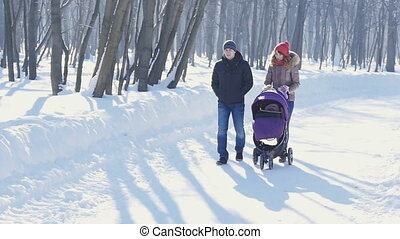 Happy young family walking in the park in winter. The...
