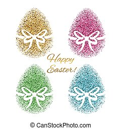Easter greeting card with colored glitter egg.