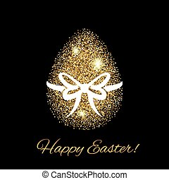 Easter greeting card with gold glitter egg Easter icon Happy...