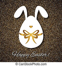 Easter greeting card with funny bunny