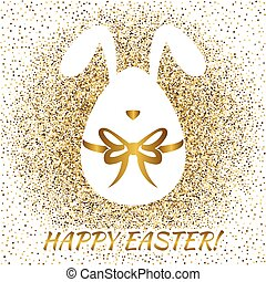 Easter greeting card with funny bunny Easter egg Happy...