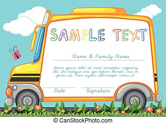 Certificate template with school bus illustration