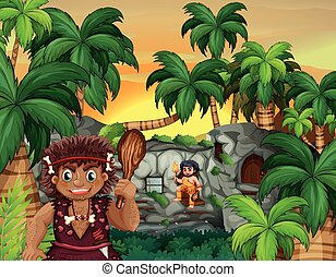 Cave people living in the forest