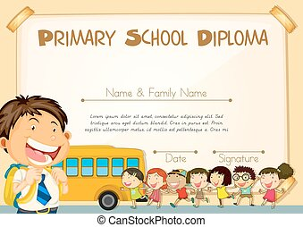 Diploma template with children and schoolbus illustration