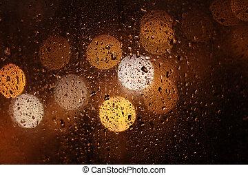 Rainy Drops at Night - night rainy drops on the window glass...