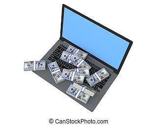 3d US dollars cash on laptop