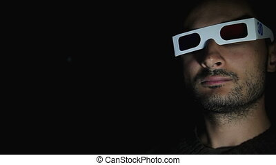 Mans Face In 3D Glasses - mans face in 3D glasses in the...