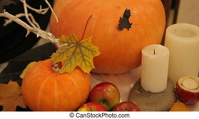 Candles and pumpkin on Halloween