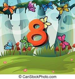 Number eight with 8 butterflies in garden