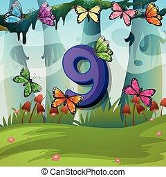 Number nine with 9 butterflies in garden
