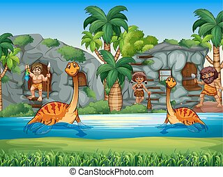 Cavemen and dinosaurs living together
