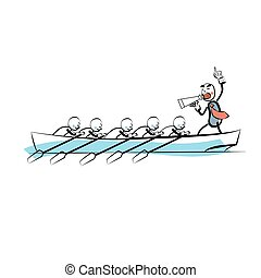 Leader teamwork business concept boat rowers. The business...