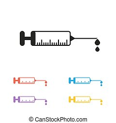vector syringe icons colored set with drop blood