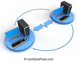 Computer Network - Image of computer network. White...
