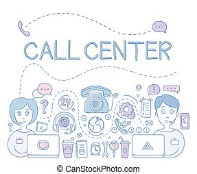Support Call Center. Vector Illustration - Support Call...
