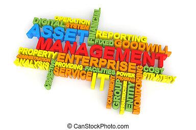 3d asset management word cloud - 3d render of asset...